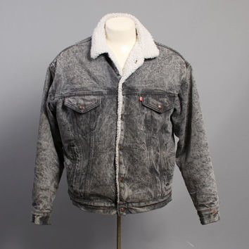 80s Levi's JEAN JACKET / Gray ACID Wash Sherpa Lined Trucker Jacket, M