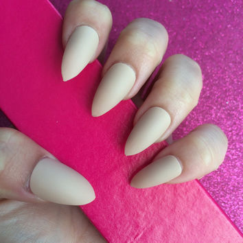 Luxury Hand Painted False Nails. Stiletto Matte Nude Nails. 24 Nail Set.