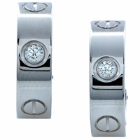 18k White Gold Authentic Cartier Diamond Love Earrings