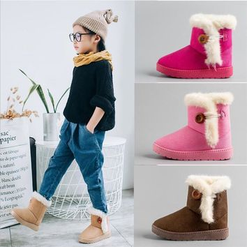 MHYONS 2018 New Winter Children Boots Thick Warm Shoes Cotton-Padded Suede Buckle Boys Girls Boots Boys Snow Boots Kids Shoes B9