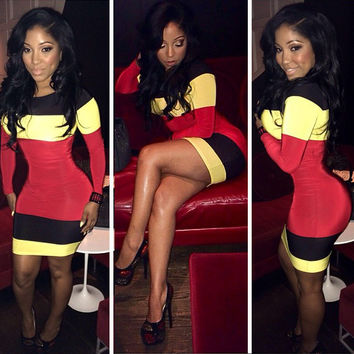 Color Block Long Sleeve Bodycon Slim Mini Dress