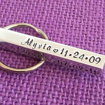 Birth Bar Keychain- Mom Gift Mothers day - Four Sided Keychain - Name Keychain - Family - Fathers Day Gift - Dad Keychain - kids names