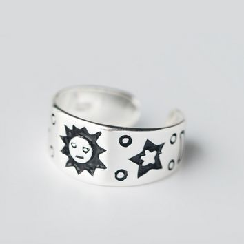 Personalized fashion patterned 925 Sterling Silver ring ,  a perfect gift