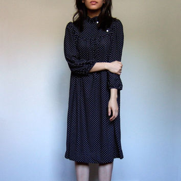 70s Polka Dot Dress Black White Tent Dress Ruffle Neck Casual Day Dress Plus Size Extra Large XL XXL 1X 2X