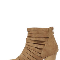 Mountain Peeks Beige Strappy Ankle Boots