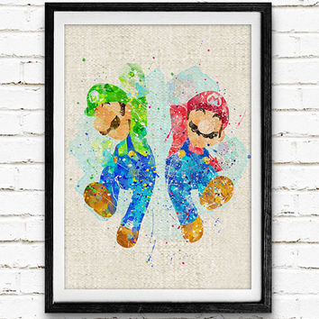 Super Mario and Luigi Watercolor Print, Games Baby Boy Nursery Decor, Wall Art, Home Decor, Gift Idea, Not Framed, Buy 2 Get 1 Free!