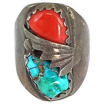 Navajo Turquoise & Coral Mens Ring