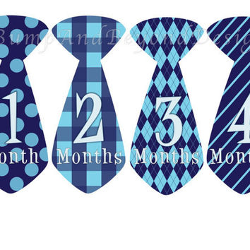 Monthly Onesuit Stickers Boy Baby Month Stickers Blue Tie Month Onesuit Sticker Monthly Onesuit Stickers Baby Shower Gift Photo Prop Sion