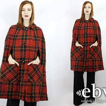 Vintage 60s Mod Red Tartan Plaid Cape Coat Red Plaid Cape Red Plaid Coat Tartan Plaid Coat Red Riding Hood