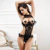 2017 Hot Sexy Lingerie Lace Floral Open Bust Transparent Sleepwear Pajamas Women Passion Sexy Exposed Cleavage Underwear Black