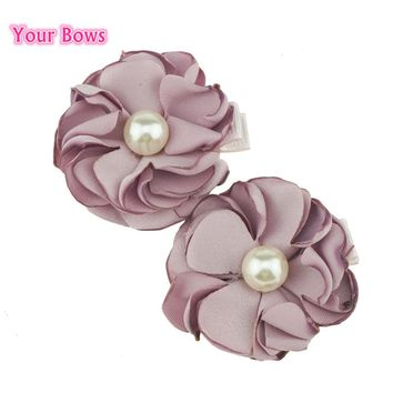 Your Bows 2Pcs Pearl Flower Hair Clips Cute Kawaii Hairpins Female Girls Pony Floral Headwear Barrettes Women Hair Accessories
