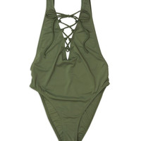 Olive Lace Up One Piece