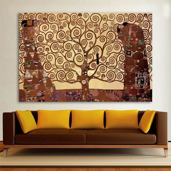 QKART Office Home Decor Wall Picture For Living Room Vienna Secession Tree Of Life Vienna Secession Gustav Klimt Canvas Art