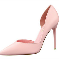 Pumps Shoes Woman Shoe Autumn Summer Pumps Sandals Thin High Heel Shallow Mouth Pointed Pink Color 10cm Heel 34~39 .PSDS-3168