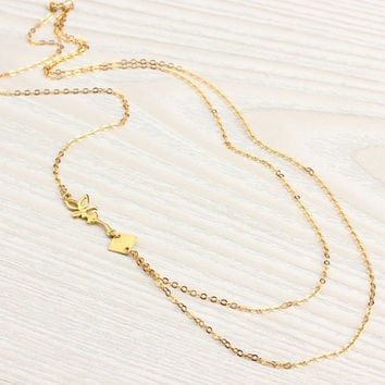 "Fairy necklace, vermeil, asymmetric necklace, delicate necklace, girly necklace, layered necklace, gold necklace, ""Lilaia"" Necklace"