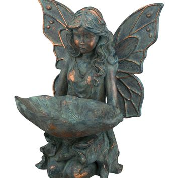 Copper Patina Finished Fairy Birdbath/Birdfeeder/Planter