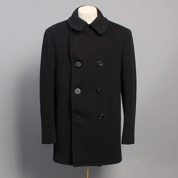 60s USN Wool PEA COAT / 8 Button Corduroy Pockets Kersey Wool, 42