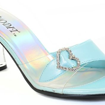 Clear Jeweled Heart Buckle Low Heel Slide Womens Shoes