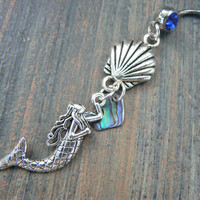 mermaid belly ring with seashell and abalone