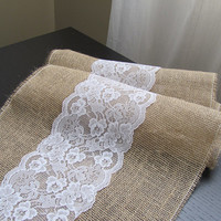 Lace & Burlap Table Runner - Wedding / Event Supplies