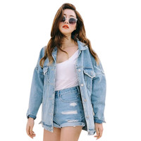 Uwback 2016 New Brand Oversized Denim Jacket Women Plus Size Loose Jeans Jacket Women Washed Denim Jackets Women Coat CBB148