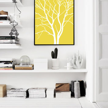 Mustard Print, Yellow Poster, Scandinavian, Yellow Tree Print, Printable Art, Large Print, Yellow Nordic Decor, Mustard, Contemporary Art