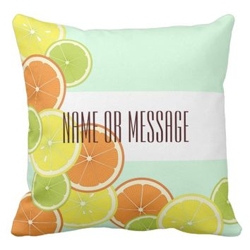 Citrus Fruits Pattern Cute Modern Summer Custom Throw Pillow
