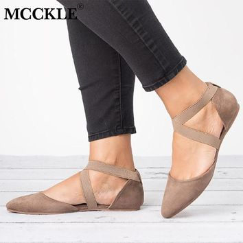 Cross Strap Low Heel Elastic Band Ballet Pointed Toe Flats