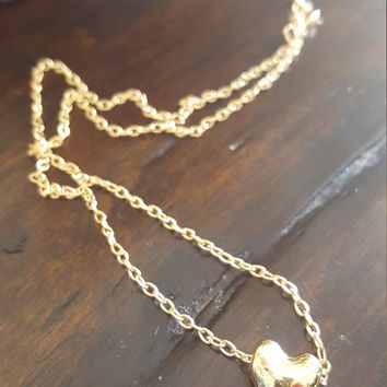Dainty necklace Gold plated heart shape charm Small necklace beautiful jewelry gift