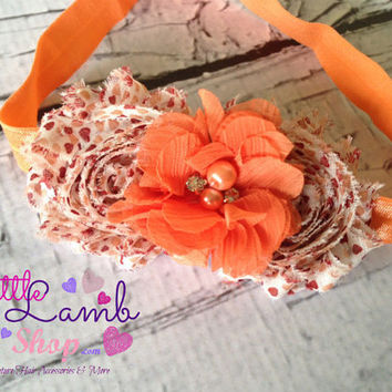 Thankful Fall Shabby Chic Baby Headband, Cream Orange Infant Newborn Girl Hair Band, Flower Girl Head Band, Newborn Photography Prop, Canada