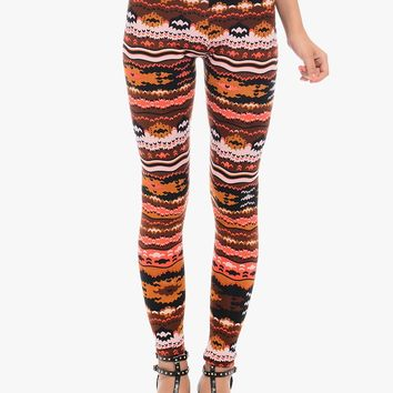 Orange Party On Printed Leggings | $7.50 | Cheap Trendy Leggings Chic Discount Fashion for Women |