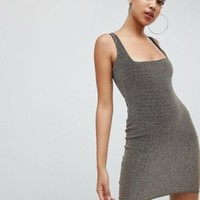 PrettyLittleThing square neck bodycon dress in metallic gold at asos.com