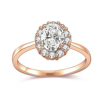 dnswez Rose Gold 4 Ct Oval Cut Halo Cubic Zirconia CZ Solitaire Ring Wedding Band Engagement Rings