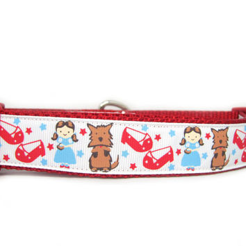 Dorothy's Ruby Slippers Dog Collar, 1 inch wide, Toto, red, white, Wizard of Oz, small, medium, large, XL, XXL