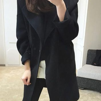New Black Pockets Turndown Collar Long Sleeve Elegant Coat