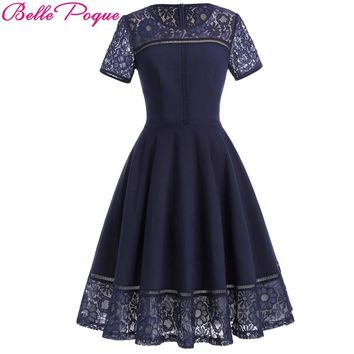 Belle Poque 2018 Summer Party Sexy Lace Dress Women Big Size Short Sleeve Tea Vestidos Swing Pin up Robe Femme Vintage Jurk