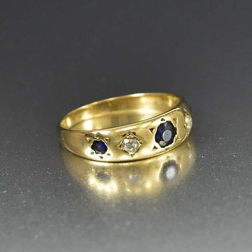 Antique 18K Gold Sapphire and Diamond Band Ring