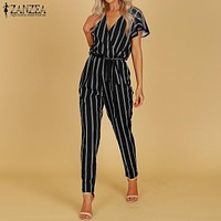 2018 ZANZEA Elegant Women V Neck Flare Sleeve Striped Jumpsuit Casual Fashion Summer Work OL Rompers Harem Pants Long Playsuits