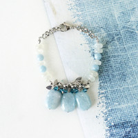 Light Blue Aquamarine Stone Bracelet with Moonstone, March Birthstone Jewelry