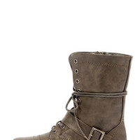 Georgia 86 Taupe Lace-Up Combat Boots