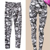 Hot Womens Black Skull Print Pattern Leggings Stretchy Tights Pants [8833519180]