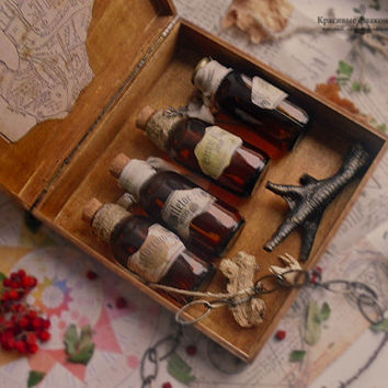 Medieval apothecary box | potions in the magic wooden chest | one of the kind | alchemy jars