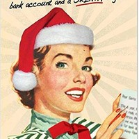 12 'Fat Account Skinny Figure' Boxed Christmas Cards w/Envelopes, Hilarious Old-Fashioned Artwork Christmas Notes, Sassy Vintage Holiday Cards, Unique Christmas Stationery