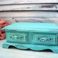 Aqua Vintage Jewelry Box, Light Aqua Small Wooden Jewelry Holder, Shabby Chic Jewelry Box, Gift Ideas, Up Cycled Cottage Chic Jewelry Box