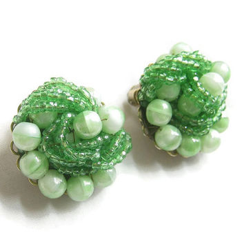 Vintage MARVELLA Lime Green Art Beads and Seed Beads Hand Wired Earrings