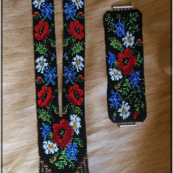 "A set of jewelry ""Wildflowers"" (Gerdan, bracelet)Ukrainian necklace ,Ukrainian Gerdan"