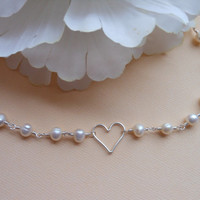 Pearl Necklace, Silver Heart, Heart and Pearl Necklace, Dainty, Classic Pearl, Mother, Bridesmaid, Maid of Honor