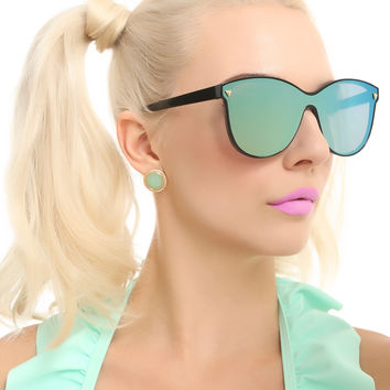 Green Mirrored Shield Sunglasses