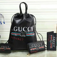 Gucci Fashion Leather Backpack Travel Bag Purse Wallet Card Bag Set Four-Piece Black