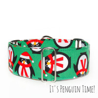 Cute Penguin Dog Collar, Martingale, Buckle or Tag/House Collar. Italian Greyhound, Whippet, Boxer, Doberman, Great Dane, Cute Green Winter